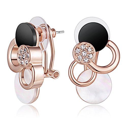 Carfeny Rose Gold Earrings, Black and Clear Crystal Accented Sea Shell Stud Earrings for Women Hypoallergenic Circle Cluster Rhinestones - Shell Earrings Cluster