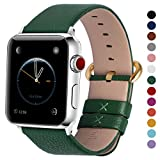 Fullmosa Compatible Watch Band 44mm 42mm 40mm 38mm Calf Leather Smart Watch Band Replacement, 44mm 42mm Dark Green + GD