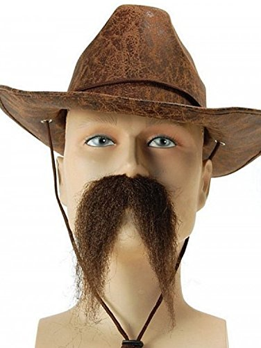 Bristol - Large Brown Droopy Marshal Fake Moustache - Self Adhesive (Artificial Moustache)