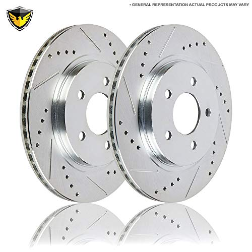 Drilled Slotted Front Brake Rotors For Lexus GS IS LS & SC - Duralo 152-1396 New