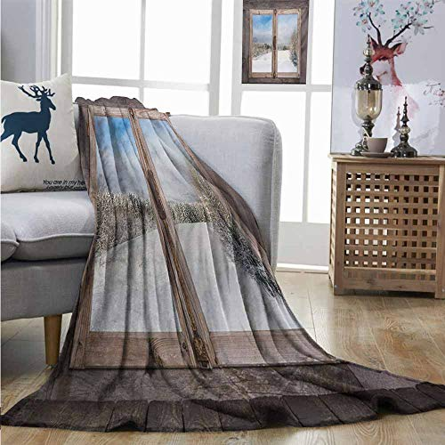 (Degrees of Comfort Weighted Blanket Rustic Winter Season Scene from a Wooden Window of Country House Snow Vintage Design Full Blanket W54 xL84 Umber White)
