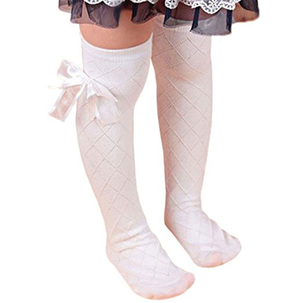 Tangbasi Princess Style Girls Knee High Socks Toddler Kids Socks School Dress Stockings Bow Decor