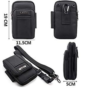 BAGZY Mens Small Shoulder Bag Side Bag Outdoor Sports Hiking Waist Pack Crossbody Tactical MOLLE EDC Cellphone Pouch Belt Bum Bag Drop Leg Bag Hip Bag Messenger Sling Bag Travel Bag Black