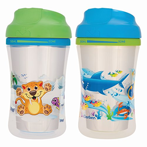 9 Ounce Sippy Cup (NUK Gerber Graduates Advance 2 Piece with Seal Zone Insulated Cup-Like Rim Sippy Cup, Boy, 9 Ounce (Designs May Vary))