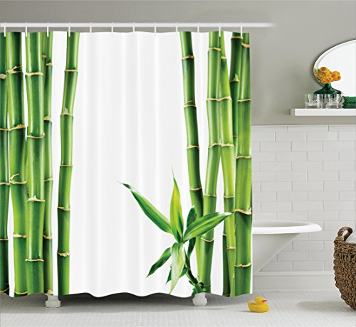 Asian Shower Curtain Decor by Ambesonne, Branches of Bamboo Board Stalk Tropics Plants Greenery Feng Shui Natural Lush Image, Polyester Fabric Bathroom Shower Curtain Set with Hooks, Green White (Traditional 60th Anniversary Gift)