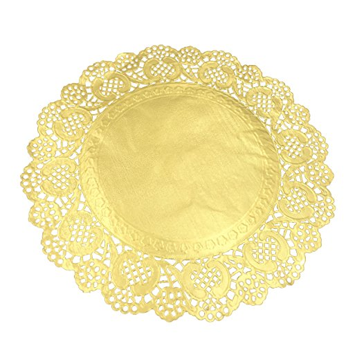 Aligle 10 Inch Cute Gold Round Lace Lancaster Paper Doilies Craft Cake (New Large Round Doily)
