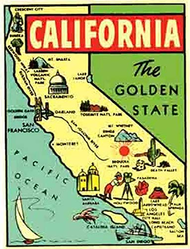 Amazon.com: California The Golden State Map Vintage Travel ... on mo state map, shawnee state forest topo map, illinois state map, shawnee state park map,