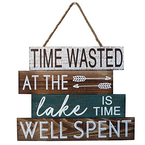 Barnyard Designs Time Wasted at The Lake is Time Well Spent Wooden Sign Rustic Vintage Primitive Lake House Home Decor Sign 15