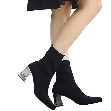 ... Punta Estrecha Zapatos de tacón Alto Botas de Tela elástica de Tubo Medio Botas sin Cordones Mujer Retro Otoño Invierno: Amazon.es: Ropa y accesorios