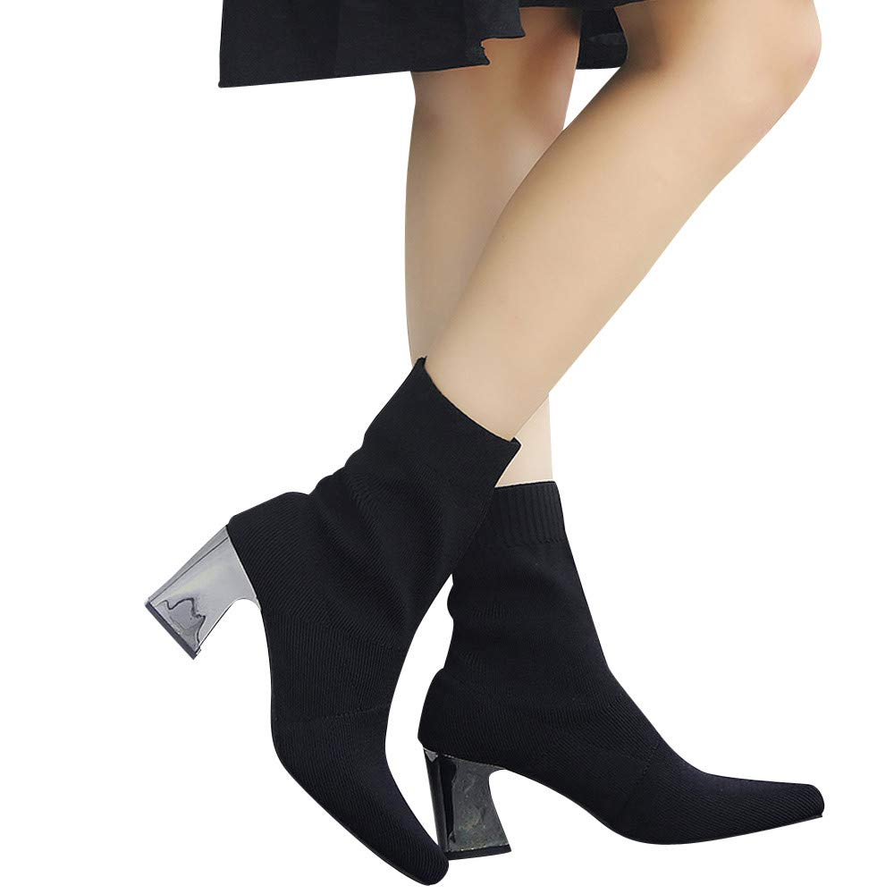 Women's Sexy Stretch Fabric Suede Middle Tube High Heel Slip-On Bootst (Black, US:6.0)