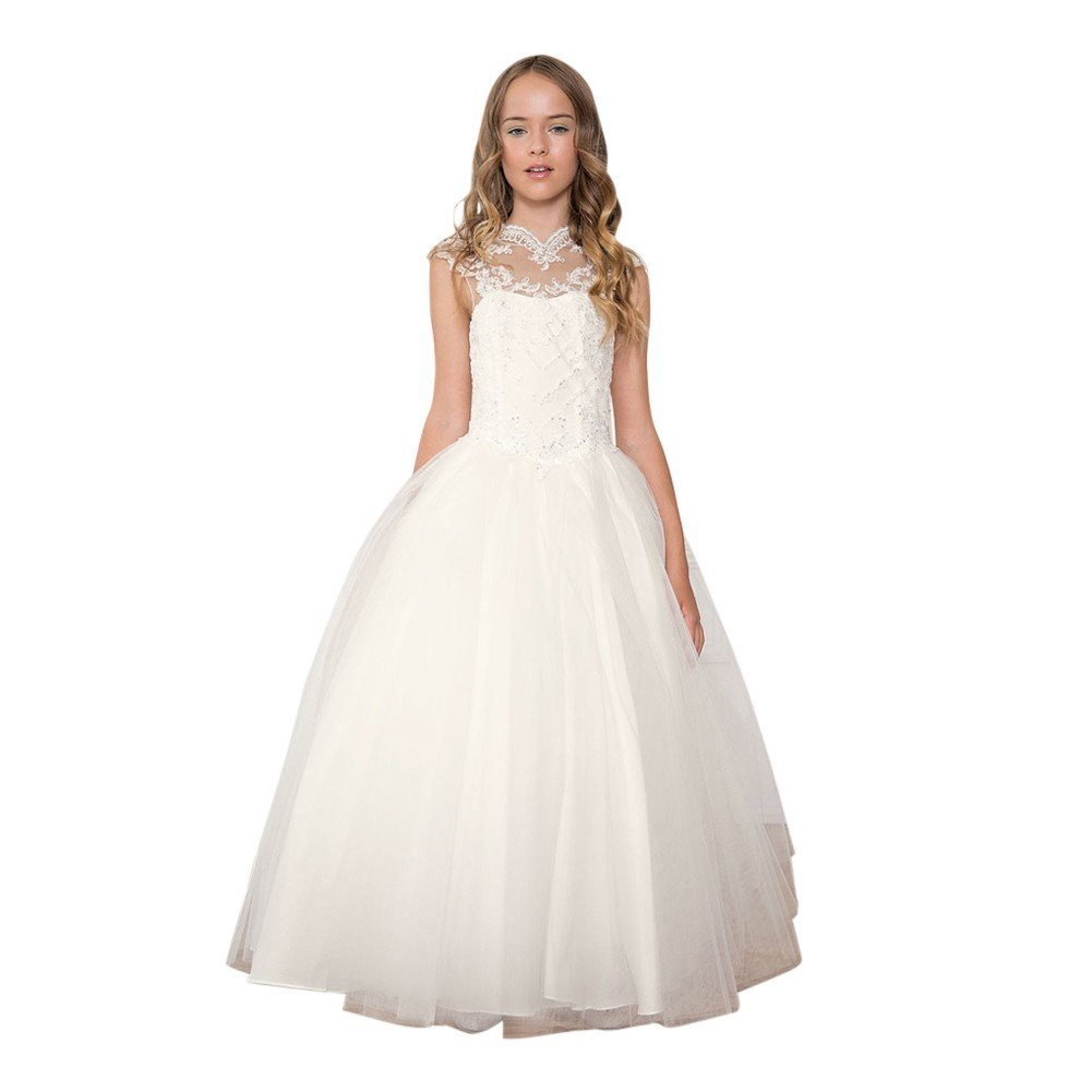 Calla Collection Little Girls Off-White Glitter Heart Flower Girl Dress 6
