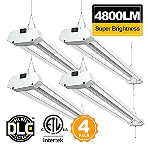 Linkable 4FT LED Shop Light BBOUNDER 4800 Lumen 5000K Daylight Super Bright Utility Light Fixture Surface and Hanging Mounting Garage Light for Warehouse Basement Garage Workbench (4 Pack)