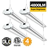 Linkable LED Shop Lights for Garage BBOUNDER 4800 Lumen 40W 4FT 5000K Daylight Utility Garage Lights Fixtures with Pull Chain for Basement Storage Workshop(4 Pack)