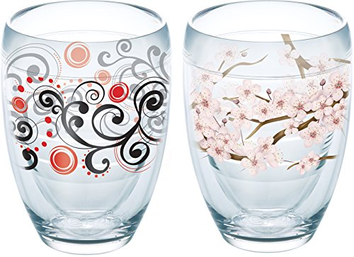 (Tervis 1232706 Cherry Blossom, Berry Swirlwind Insulated Tumbler with Wrap 2 Pack - Boxed 9oz Stemless Wine Glass Clear)