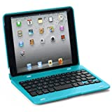 FlyStone® Clamshell Laptop Style Bluetooth Keyboard Case for Apple iPad mini 1/2/3 (7.9 inch.) Comes With FlyStone Microfiber Cleaning Cloth. (Light Blue)