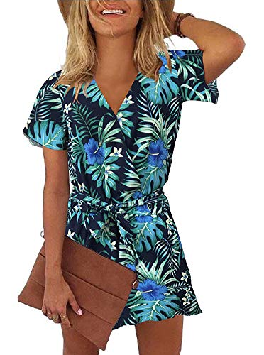 REORIA Womens Casual Summer One Piece Ruffles Short Sleeve V Neck Tie Front Belted Wrap Playsuits Short Jumpsuit Beach Rompers Floral Printed Navy Blue Small