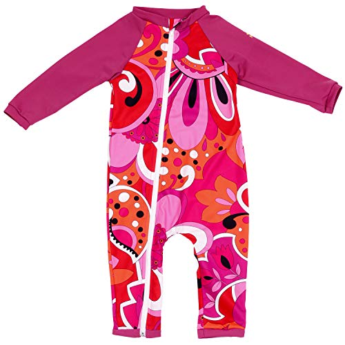 Nozone Full Zip Sun Protective Baby Swimsuit in Brandie/Fuchsia, 6-12 Months ()