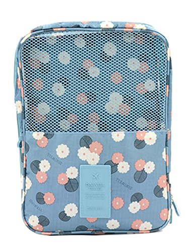 iSuperb Shoe Bag Waterproof Travel Bag Shoe Toe Organizer Case Holder 3 Pairs of Shoes (Blue with Floral Pattern)