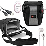 DURAGADGET Shock-Absorbing, Water-Resistant Case in Cross-Body Bag Style Compatible with the AngelSounds Fetal Doppler Baby Heart Monitor - Includes USB Data Cable and Black In-Ear Headphones