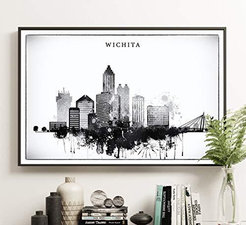 Wichita Black White Print, Kansas Skyline Poster, Watercolor Wall Art, Wichita Graphic Skyline, Unframed print