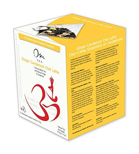 Ginger Cardamom Chai Latte, Premium Chai with Natural Black Tea, Natural Ginger and Cardamom, 15 count box of silken pyramid tea bags ()
