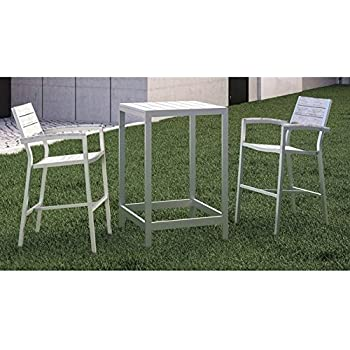 Modway Maine 3 Piece Outdoor Patio Dining Set, White Light Gray