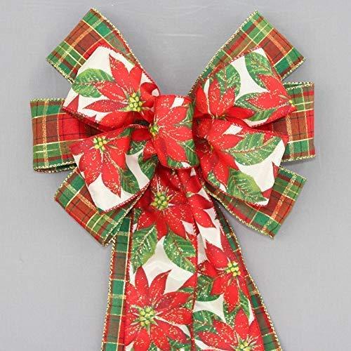 Sparkle Poinsettia Plaid Christmas Wreath Bow - 10