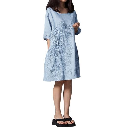 cc83de85768d Women Tunic Dress, Half Sleeve Cotton Linen Loose Midi Dresses Floral  Emboridery with Pockets Plus