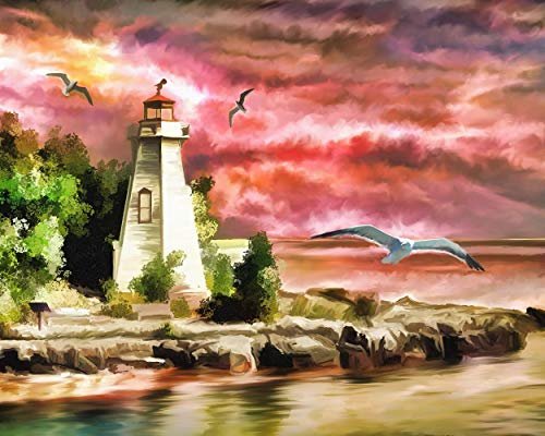 TINMI ARTS-5D Diamond Painting Lighthouse Full Round-DIY Cross Stitch Pattern Rhinestone Embroidery Kits Home Wall Decor ()