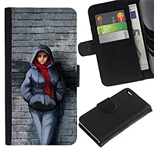 All Phone Most Case / Oferta Especial Cáscara Funda de cuero Monedero Cubierta de proteccion Caso / Wallet Case for Apple Iphone 4 / 4S // Badass Steet Girl