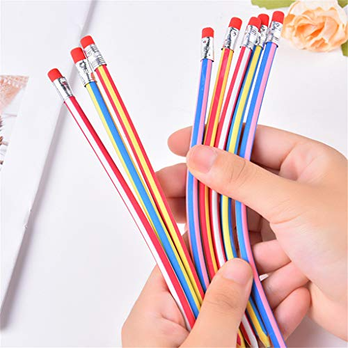 CapsA Colorful Magic Bendy Flexible Soft Pencils with Eraser Magic Bend School Fun Equipment for Kids Writing Gift (Multicolor, 60 PCS)