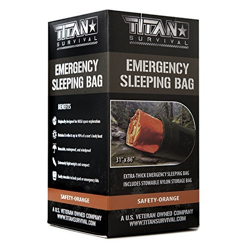 TITAN Extra-Thick Emergency Mylar Sleeping Bag, Safety-Orange (28-000002)