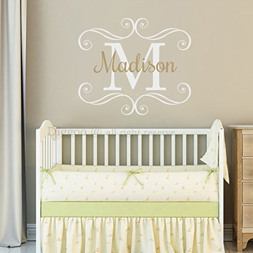 - Swirl Frame Monogram Name Wall Decal - Nursery Wall Decal Personalized Girls Name and Initial Wall Decal for Girls Room Decor (22
