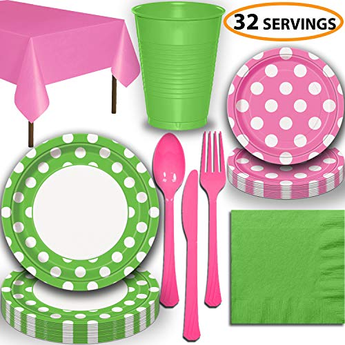 Disposable Tableware, 32 Sets - Lime Green and Hot Pink Dots - Dinner Plates, Dessert Plates, Cups, Lunch Napkins, Cutlery, and Tablecloths: Premium Quality Party Supplies Set