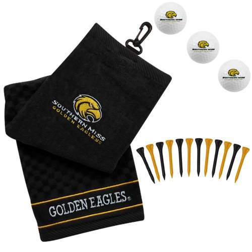NCAA Southern Miss Golden Eagles Golf Towel, Golf Balls & Multicolored Tees Gift Set - Black