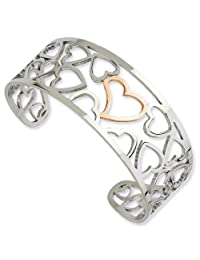 IceCarats® Designer Jewelry Stainless Steel Polished Pink Ip-Plated Hearts Cuff Bangle