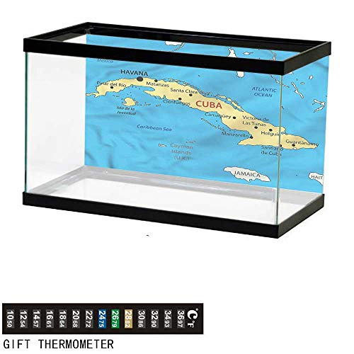 (Suchashome Fish Tank Backdrop Wanderlust,Republic of Cuba Modern,Aquarium Background,36