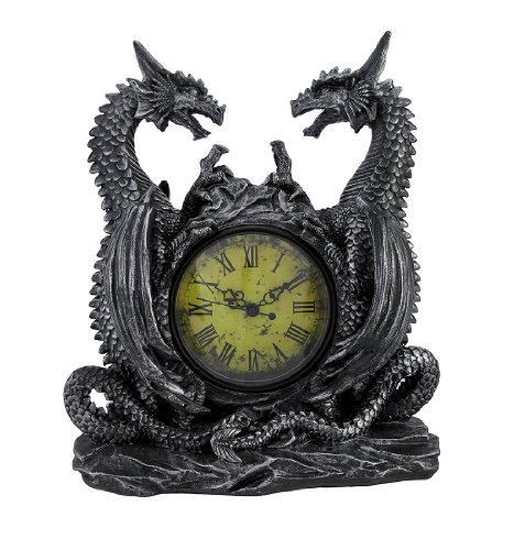 (Private Label Twin Evil Dragons Antiqued Mantel Clock Table)