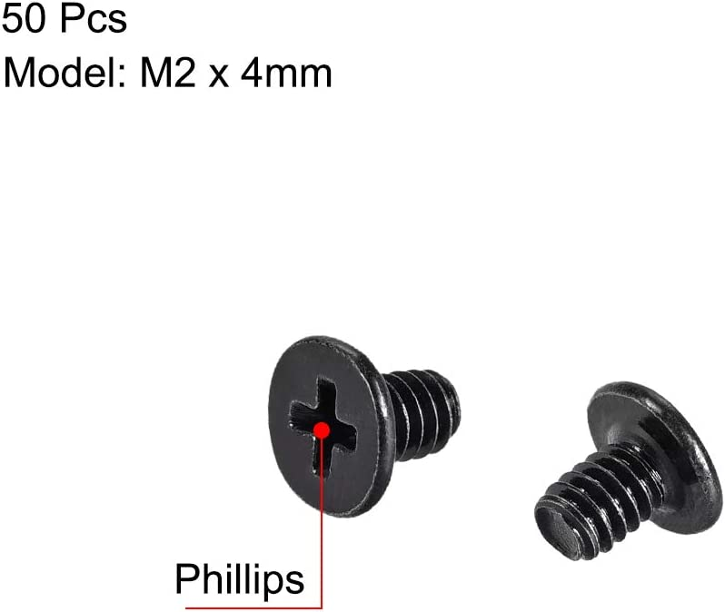 uxcell M2x4mm Phillips Screw Fastener Black for Laptop PC TV Fan Audio Switch 50pcs