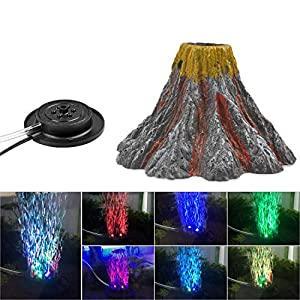 NICREW Aquarium Volcano Ornament Kit, Air Bubbler Decorations for Fish Tank, Aquarium Air Bubbler with Multi-Color LEDs 113