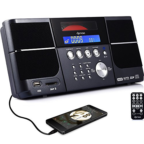 DPNAO Portable cd Player Boombox with FM Radio Clock USB SD and Aux Line-in for Kids ()