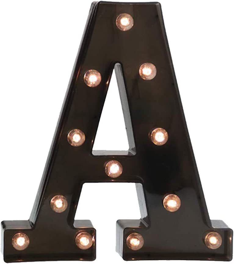 Glintee LED Marquee Letter Lights Black Alphabet Light Up Sign for Wedding Home Party Bar Decoration Battery Powered Letter Decor-A