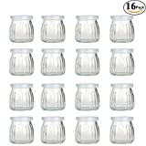 4oz glass jar with lid - Folinstall 4 oz Glass Jars with Lid - Yogurt Container - Yoghurt Jars Pudding Jar for Jam, Honey, Spices, Arts and Gift Holder 1 Set (16 Jars)