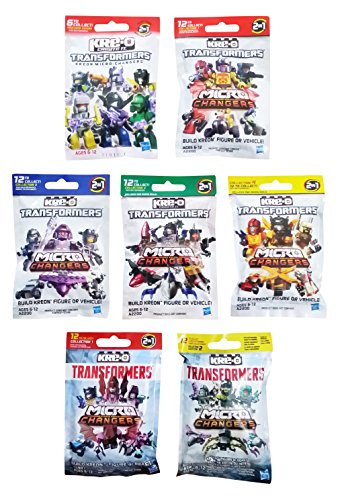 Kre-O Transformers Micro Changers 7 Pack Bundle includes: Preview Series, Collection 1, 2, 3, 4 & Age of Extinction Collection 1 & 2 Mini Figure Blind Bag Mystery Packs (1 Pack of Each) (Transformers 3 Dark Of The Moon Ratchet)