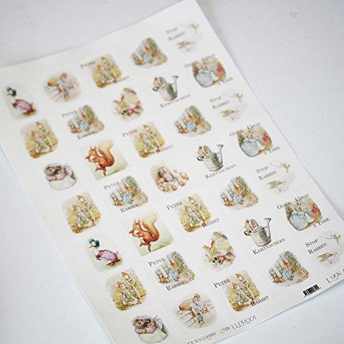 Luck Peter Rabbit Themed Sticker Sheet - 35 Square Stickers - Beatrix Potter