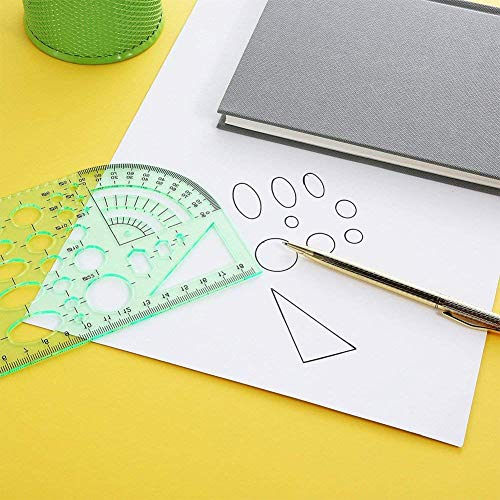 Qincling 11 Pieces Geometric Drawings Templates Stencils Plastic Measuring Template Rulers Clear Green Shape Template for Drawing Engineering Drafting Building School Office Supplies by Qincling (Image #5)