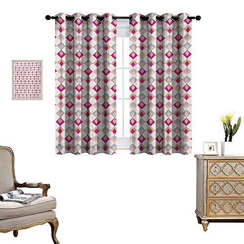 (Retro Window Curtain Fabric Checkered Pattern Squares in Different Soft Colors with Linked Diamond Shapes Drapes for Living Room W55 x L72 Pink Peach Khaki )