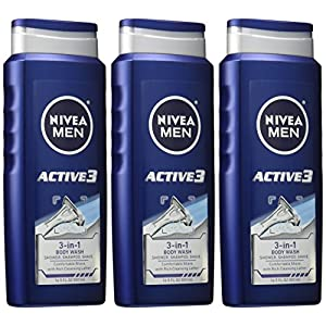 NIVEA Men Shower and Shave 3-in-1 Body Wash 16.9 Fluid Ounce (Pack of 3)