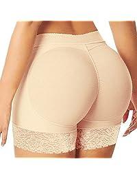 Women Seamless Butt Lifter Shaper Padded Panties Enhancer Underwear (US S / Tag M, Beige)
