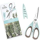 PortoFino Multi-Functional Kitchen Shears - Utility Scissors with Blade Protector | Micro Serrated Stainless Steel Blade | Anti-Slip Grip | Food Prep Accessories | Bottle Opener, Crab & Nut Cracker